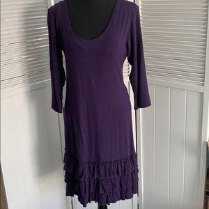 Dresses & Skirts - purple dress with layered ruffles on the bottom.